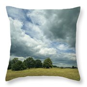Cloud-filled Sky Over A Cluster Throw Pillow