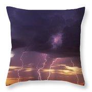 Cloud To Ground Lightning At Sunset Throw Pillow