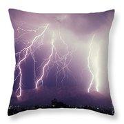Cloud To Ground Lightning Throw Pillow