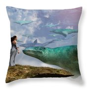 Cloud Whales Throw Pillow