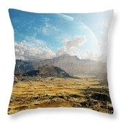 Clouds Break Over A Desert On Matsya Throw Pillow