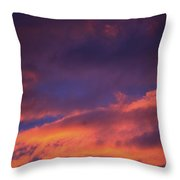 Clouds In Sky With Pink Glow Throw Pillow by Richard Wear
