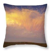 Clouds Over Canola Harvest, Saint Throw Pillow