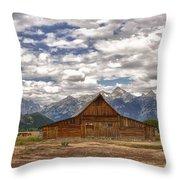 Clouds Over Mormon Row Throw Pillow