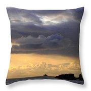 Clouds Over Tillamook Lighthouse Throw Pillow