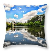 Clouds Reflection On Water Throw Pillow
