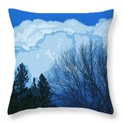 Cloudy Blue Dream Throw Pillow