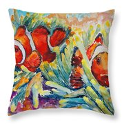 Clownfish In Their Paradise Throw Pillow