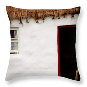 Co Galway, Ireland Detail Of A Cottage Throw Pillow
