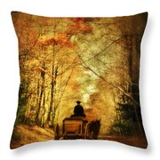 Coach On A Road In Autumn Throw Pillow