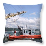 Coast Guard With Tall Ships Throw Pillow