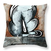 Coastal Art Contemporary Sailboat Painting Whimsical Design Afternoon Breeze By Madart Throw Pillow