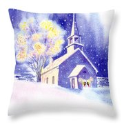 Coastal Church Christmas Throw Pillow