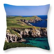 Coastal Cliffs And Seascape With Boat Throw Pillow