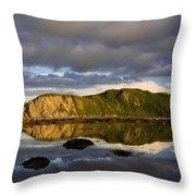 Coastal Cliffs In Evening Light Throw Pillow