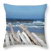 Coastal Driftwood Art Prints Blue Sky Ocean Waves Throw Pillow by Baslee Troutman