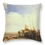 Coastal Scene In Picardy Throw Pillow by Richard Parkes Bonington