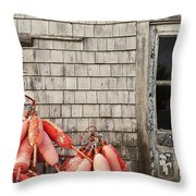 Coastal Shanty And Buoys. Throw Pillow