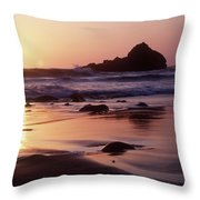 Coastline At Sunset Throw Pillow