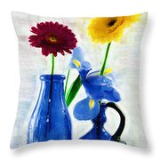 Cobalt Blue Glass Bottles And Gerbera Daisies Throw Pillow