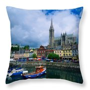 Cobh Cathedral & Harbour, Co Cork Throw Pillow