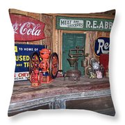 Coca Cola - Rexall - Ok Used Tires Signs And Other Antiques Throw Pillow