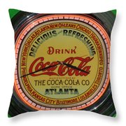 Coca Cola Clock Throw Pillow
