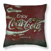 Coca Cola Green Red Grunge Sign Throw Pillow