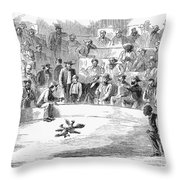 Cock Fighting, 1866 Throw Pillow