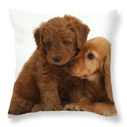 Cocker Spaniel Puppy And Goldendoodle Throw Pillow