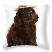 Cocker Spaniel Wearing A Hat Throw Pillow