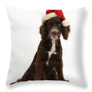 Cocker Spaniel With Santa Hat Throw Pillow