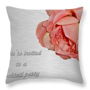Cocktail Party Invitation - Fabric Rose Throw Pillow