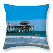 Cocoa Beach Pier Florida Throw Pillow