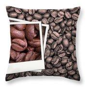 Coffee Beans Polaroid Throw Pillow
