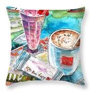 Coffee Break In Agios Nikolaos In Crete Throw Pillow