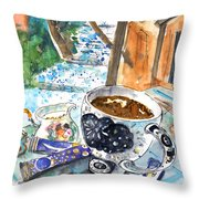 Coffee Break In Elos In Crete Throw Pillow