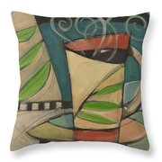 Coffee Cup With Leaves Throw Pillow