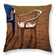 Coffee Cups Along With Chairs And Tables In A Quiet Location At Sunset Throw Pillow