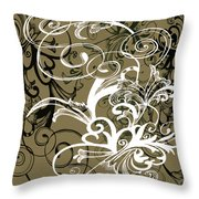 Coffee Flowers 1 Olive Throw Pillow
