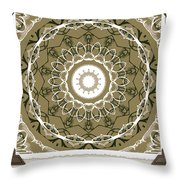 Coffee Flowers 1 Olive Medallion Scrapbook Throw Pillow