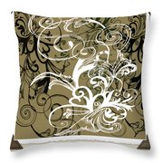 Coffee Flowers 1 Olive Scrapbook Throw Pillow
