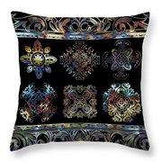 Coffee Flowers Ornate Medallions 6 Piece Collage Aurora Borealis Throw Pillow