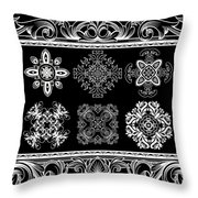 Coffee Flowers Ornate Medallions Bw 6 Piece Collage Framed  Throw Pillow