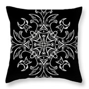 Coffee Flowers Ornate Medallions Bw Vertical Tryptych 1 Throw Pillow