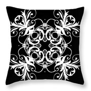 Coffee Flowers Ornate Medallions Bw Vertical Tryptych 2 Throw Pillow