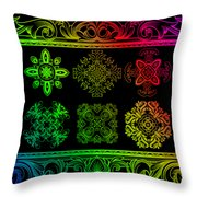 Coffee Flowers Ornate Medallions Color 6 Piece Callage 1 Throw Pillow