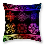 Coffee Flowers Ornate Medallions Color 6 Piece Collage 2 Throw Pillow