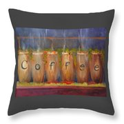 Coffee In The Window Throw Pillow