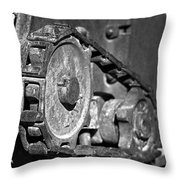 Cog And Chain In Rust Black And White Throw Pillow